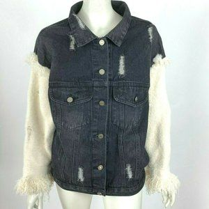 Main Strip Denim Jacket Distressed Knit Sleeve NWT
